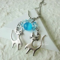 Necklace Silver Cats Blue Charms Twins Crystals Chain Two Beaded | LittleApples - Jewelry on ArtFire