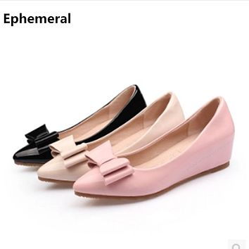 Women Cow Muscle Latex Leather Bow Low Heels Pumps