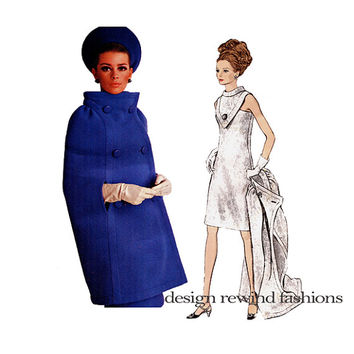 1960s VOGUE DRESS & CAPE Pattern Double Breasted Cape Pierre Cardin Designer Vogue 1722 Paris Original Vintage Sewing Patterns Size 14 Label