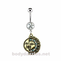 Vintage Burnish Gold Sun & Moon Navel Ring Belly Ring 316L Surgical Steel