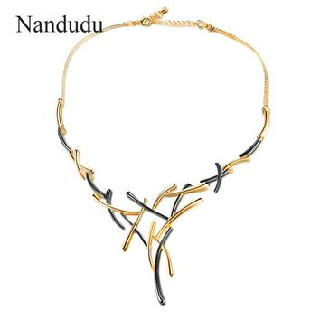 Nandudu Gun Gold Color Metallic Necklace Statement Cross Jewelry for Women Punk Style Female Party Jewelry Gift CN363