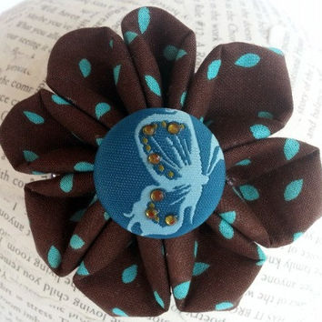 Ponytail flower hair accessory ~ Kanzashi  fabric flower ~ teen tween girls hair accessorry ~ brown and aqua hair flower~ 3 inch hair flower
