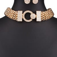 Golden Crystal Embellished Chunky Choker Necklace And Earrings