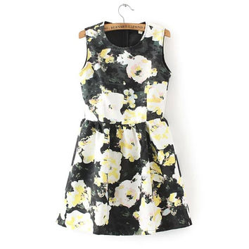 Women's Fashion Floral Print Vest One Piece Dress [4914998532]