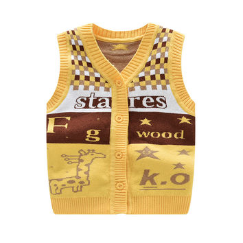 2016 New Fashion Infant Clothes Cute Letter Baby Vest Cotton Wool Cardigan Vest Cartoon Outerwear Baby Clothing Free Shipping