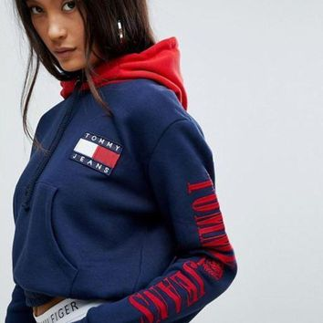 Tommy Jeans 90s Women Fashion Pullover Capsule Top with Arm Logo Hoodie G-1