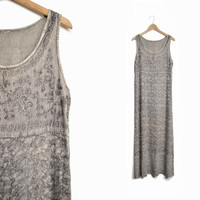 Vintage 90s Embroidered Hippie Maxi Dress in Ash Gray - medium