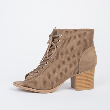Suede Perforated Booties - 6