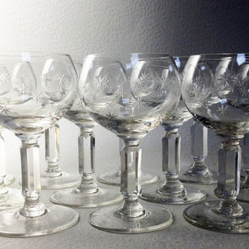 Set of 12 French Vintage Etched Glasses - Porto Aperitif Glasses