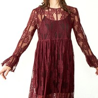 Rory Burgundy Lace Midi Dress - FINAL SALE