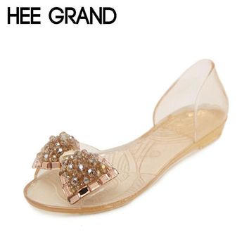 HEE GRAND Women Sandals 2017 New Summer Bling Bowtie Fashion Peep Toe Jelly Shoes Woma