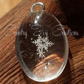 Real Preserved Snowflake pendant, real snowflake for sale, pendant, small oval, p7