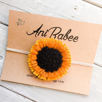 Sunflower Felt Headband, Felt Flower Headband, Felt Headband, Baby Headbands, Yellow and Orange Flower Headband