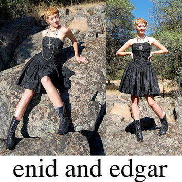 Strapless Party Dress Vintage 80s Black Ruched by enidandedgar