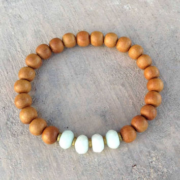 "Sandalwood and Faceted Amazonite, ""Fifth Chakra"" bracelet"
