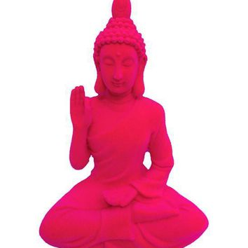 Hot Pink Boho Buddha Seated Décor Figurine