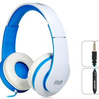 OVLENG A2 3.5mm Plug Stereo Headphones with Microphone & 1.2 m Cable (Blue & White)