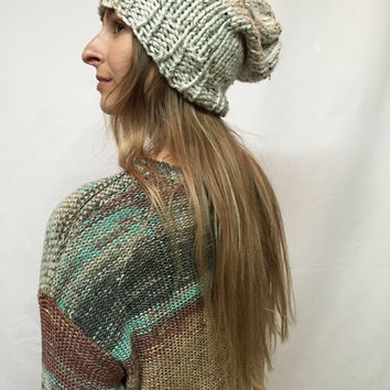 Knit Slouchy Hat Beanie Vegan Beige Tweed Aspen Warm And Cozy