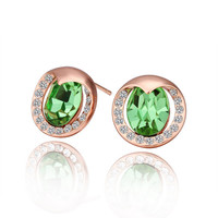 Green Crystal Rose Gold Plated Earring