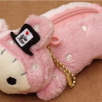 fluffy Sentimental Circus pink rabbit plush cellphone charm - Wallets - Accessories
