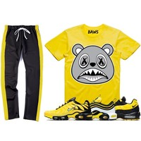 Nike Air Max Frequency Pack Bumble Bee Sneaker Outfit - SHADOW BAWS - Track Pants + Shirt