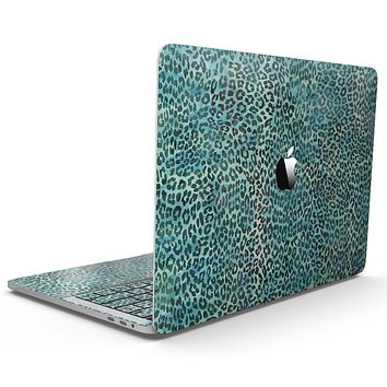 Blue-Green Watercolor Leopard Pattern - MacBook Pro with Touch Bar Skin Kit