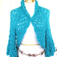Large Turquoise Lace Shrug, Gift for Her