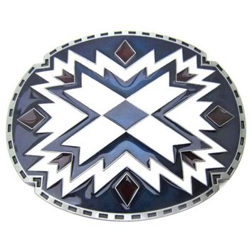 Oval Native American Indian Art Belt Buckle