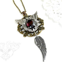 Amethyst Glass Pendant,Steampunk Jewelry,Wings Necklace,Angels Pendant