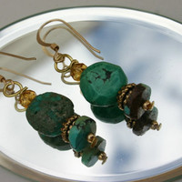 Classy southwestern style Turquoise 14kgf dangle earrings with Swarovski crystals