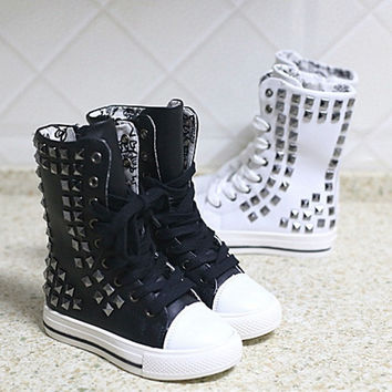 Baby Kids Girls Boys Casual Flats Lace Up High Tops Shoes Martin Boots = 1705166916