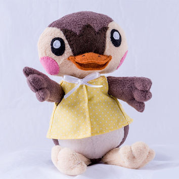 Animal Crossing - Molly Duck plushie with posable wings : a quality plushie made just for you -  a very special gift. Add a name FOR FREE.