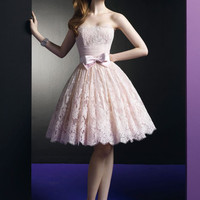 Strapless Pink Lace Wedding Bridesmaid Prom Dress | DV2051
