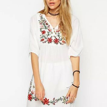 Ethic Embroidered Loose V-Neck Dress