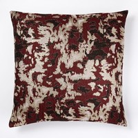 Brocade Abstract Pillow Cover - Burgundy