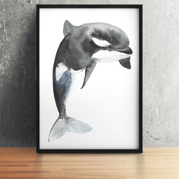 Killer whale poster Watercolor art Nursery print ACW23