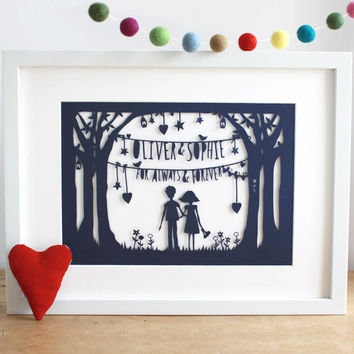 Valentine's Always And Forever Papercut Or Print