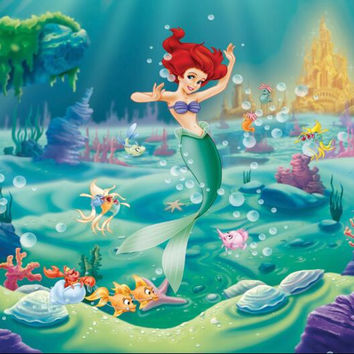 HUAYI Little Mermaid Backdrop Little Mermaid Birthday Party Background for decorating