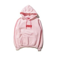 Autumn and winter skateboarding tide brand Supreme embroidery simple hooded sweater men and women Pink