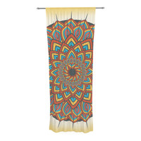"Famenxt ""Floral Mandala"" Multicolor Geometric Decorative Sheer Curtain"