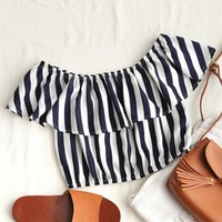 Off Shoulder Striped Cropped Blouse
