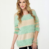Cute Beige Sweater - Mint Sweater - Striped Sweater - $49.00