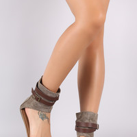 Bamboo Canvas Ankle Cuff Buckled Strap Flat Sandal