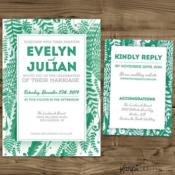 Foliage invitation, elegant wedding, printable invitation, mountain wedding, resort wedding