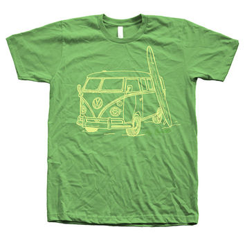 Men Unisex Shirt Vintage Van Surf  Hand Screen Print American Apparel Crew Neck Available: S, M, L, XL, XXL