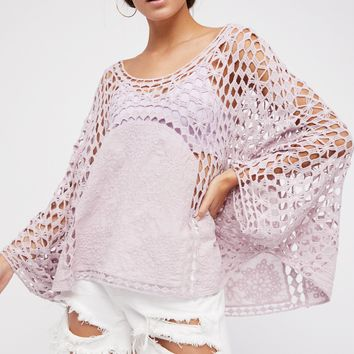 Embroidered Shirt Top Patchwork Crochet Lace Poncho Sleeves Loose Boho Tops