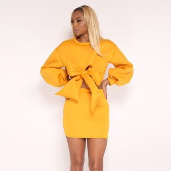 Autumn 2 Piece Clothes Set Women Hoodies Sweatshirts Crop Top Mini Skirt Suit Ladies Sexy Bowknot Pullover Two Piece Tracksuit