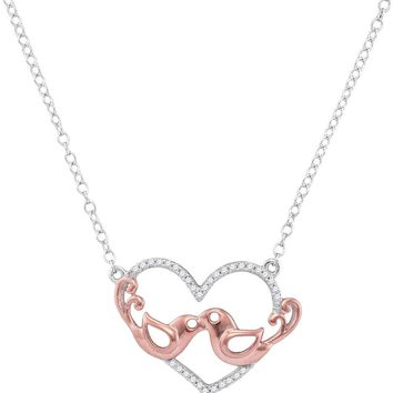 10kt White Gold Womens Round Diamond Heart Rose-tone Lovebirds Pendant Necklace 1/10 Cttw