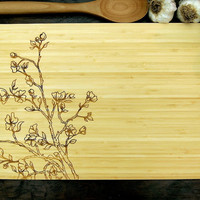 Cherry Blossom Cutting Board (Pictured in Natural), approx. 12 x 16 inches, Bamboo wood, Wedding Gift, Anniversary Gift, Birthday Gift