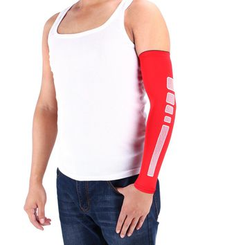 1 Pcs Man Sports Basketball Arm Sleeve Cycling Compression Arm Warmers Elbow Protector Pads Support For Men 4 Clolors Optional